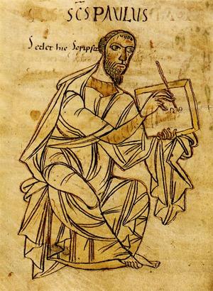 'Saint Paul writing', frühes 9. Jahrhundert