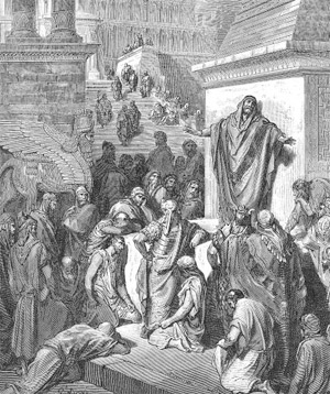 Jonah preaching to the Ninevites, by Gustave Dore (d. 1883)