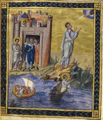 'Jonas jeté à la mer, Jonas craché par le monstre, Jonas et Dieu, prédication à Ninive', Paris psalter (BnF MS Grec 139), folio 431v