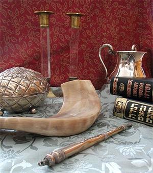 Judaica - candlesticks, etrog box, shofar, Torah pointer, Tanach, natla