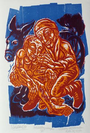 'Kranken sich zuwenden', 1991 - Walter Habdank. © Galerie Habdank
