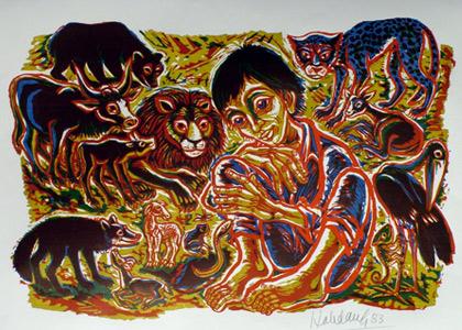 'In terra pax', 1983, farbig, Jesaja 11, 6-9 - Walter Habdank. © Galerie Habdank