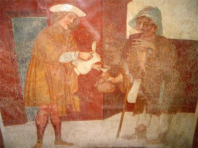 'Sperindio Cagnola, Works of Mercy (Give drink to the thirsty)', fresco, 1514 -24, Paruzzaro, San Marcello Church