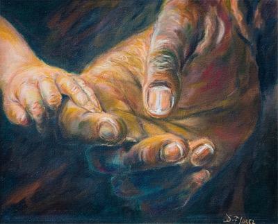 'Estudio de manos obra pintada alOleo sobre lino Belga', 2004, DorianFlorez