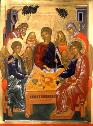 'Abraham and the angels', 1500+, Byzantine and Christian Museum in Athens, orthodox painter