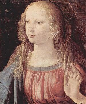 'Verkündigung an Maria, Detail: Jungfrau der Verkündigung', um 1472-1475, Leonardo da Vinci
