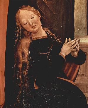'Verkündigung an Maria, Detail: Maria, 1512-1516, Matthias Grünewald