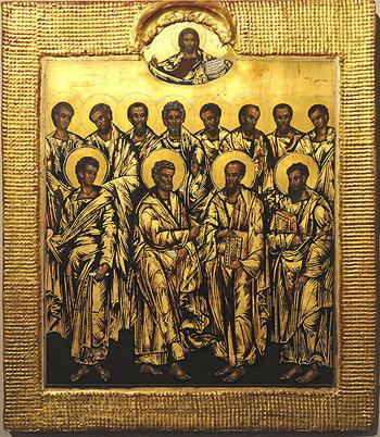 Die Zwölf Apostel überragt von Christus Pantokrator