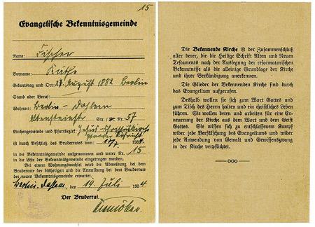 'Mitgliedsausweis der Bekennenden Kirche, Berlin-Dahlem 1934, Berkan, 2007