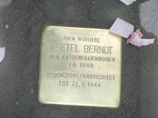 Stolpersteinverlegung für Gretel Berndt