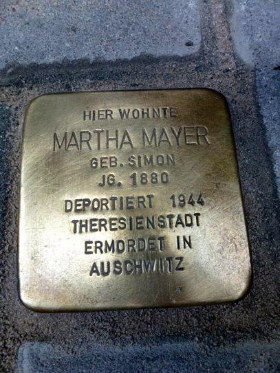Stolpersteinverlegung für Martha Mayer, geb. Simon