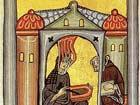 'Hildegard von Bingen empfängt eine göttliche Inspiration', RobertLechner. Dieses Bild ist im public domain,weil sein copyright abgelaufen ist.